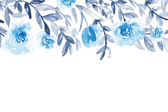 Watercolor floral letterhead template in blue and indigo.