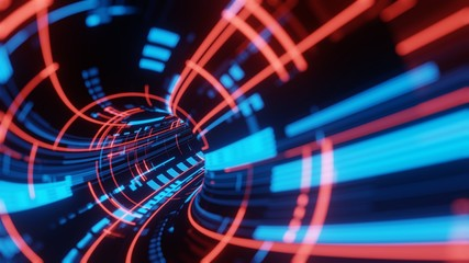 3D Rendering of abstract fast moving stripe lines with glowing data light flare. High speed motion blur. Concept of leading in business, Hi tech products, warp speed science, technology background