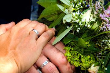 Keuken foto achterwand Bonsai hands with rings on wedding