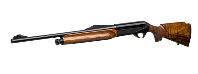 Modern semi-automatic hunting rifle with a wooden butt isolate on a white background.
