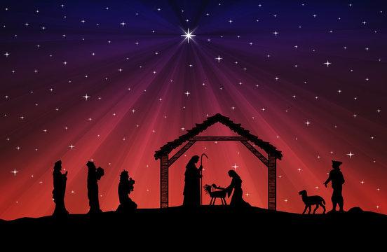 Christmas Nativity Scene black silhouette on blue-red background