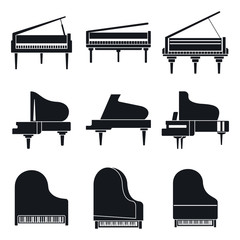 Music grand piano icons set. Simple set of music grand piano vector icons for web design on white background,