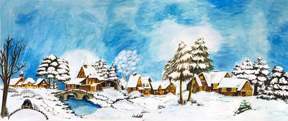 Snowy winter village landscape fairy-tale