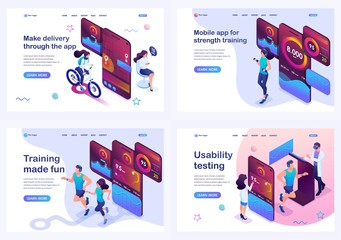 Set isometric landing pages, concept testing and using the mobile app, during sports training, food delivery and on-site orientation