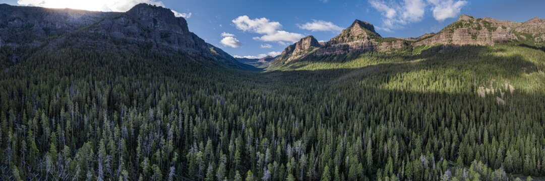Hyalite Canyon, Montana Panoramic - Gallatin Range - Rocky Mountains