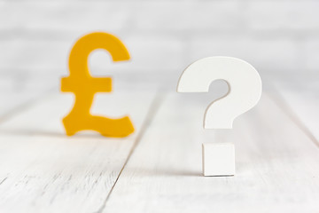Question mark with pound sign on white wood table over white brick background with copy space.