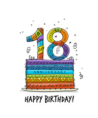 18th anniversary celebration. Greeting card template