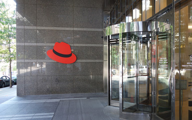 RALEIGH,NC/USA - 8-17-2019:The Red Hat headquarters building in downtown Raleigh, NC