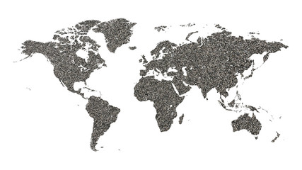 Papiers peints Amérique du Sud World map made of sea sand on a white background.