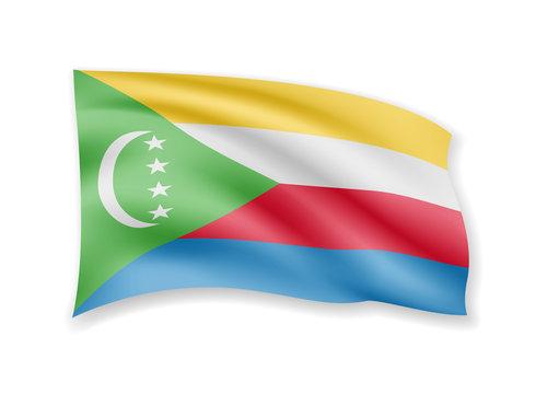 Waving Comoros flag on white. Flag in the wind vector illustration.