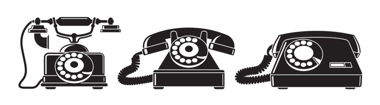 Old phones. Set of vintage phones from different periods. Black and white vector illustration