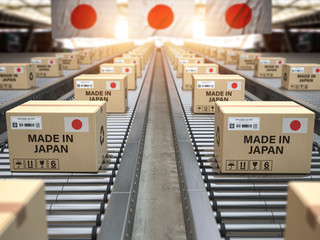 Made in Japan. Cardboard boxes with text made in Japan and chinese flag on the roller conveyor. Wall mural