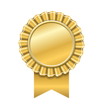 Award ribbon gold icon. Golden medal design isolated on white background. Symbol of winner celebration, best champion achievement, success trophy seal. Blank rosette element. Vector illustration