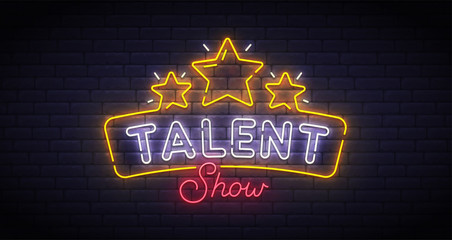 Talent Show neon sign, bright signboard, light banner. Talent Show logo neon, emblem. Vector illustration
