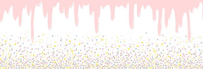 Background with pink donut glaze. Many decorative sprinkles. Easy to change colors. Pattern design for banner, poster, flyer, card, postcard, cover, brochure. Vector illustration