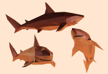 Clay Shark. Set of Brown Shiny Great White Sharks on Isolated Background. Low Poly Vector 3D Rendering