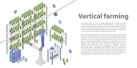 Vertical farming concept banner. Isometric illustration of vertical farming vector concept banner for web design Wall mural