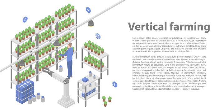Vertical farming concept banner. Isometric illustration of vertical farming vector concept banner for web design