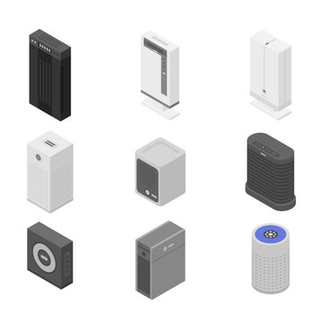 Air purifier icons set. Isometric set of air purifier vector icons for web design isolated on white background