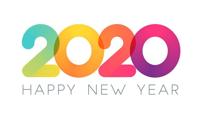 2020 Happy New Year typography design