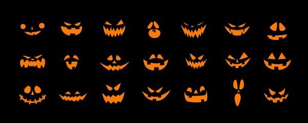 Set of Halloween scary pumpkins cut. Spooky creepy pumpkins cut Wall mural