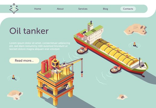 Gas Oil Tanker Ship and Offshore Platform Banner
