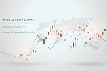 Stock market graph or forex trading chart for business and financial concepts, reports and investment on grey background . Vector illustration