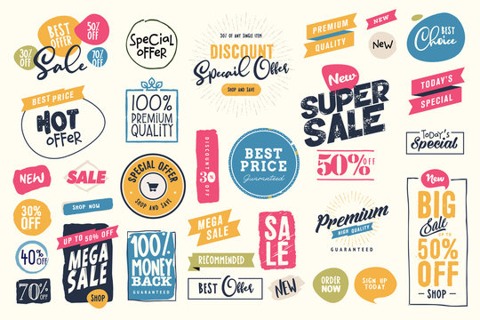 Set of labels and stickers for sale, product promotion, special offer, shopping, e-commerce. Isolated vector illustrations for web design and marketing material.