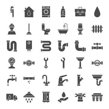 Plumbing Solid Web Icons