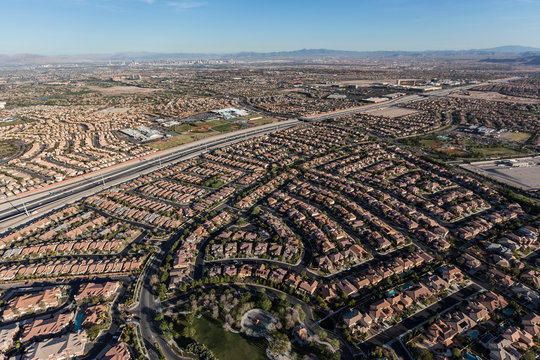 Aerial view of the suburban Summerlin homes and highway 215 in Las Vegas, Nevada.