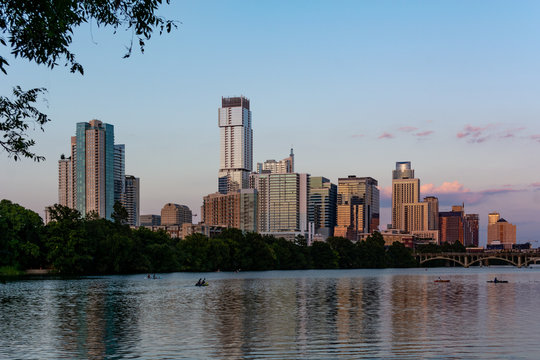 Downtown Austin Texas at Sunset August 2019