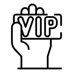VIP card in hand icon. Outline VIP card in hand vector icon for web design isolated on white background
