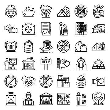 Homeless shelter icons set. Outline set of homeless shelter vector icons for web design isolated on white background