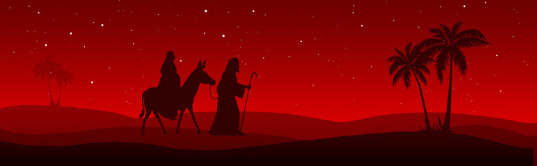 Joseph and Mary journey on red background
