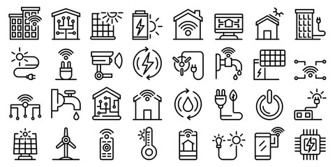 Autonomous house icons set. Outline set of autonomous house vector icons for web design isolated on white background