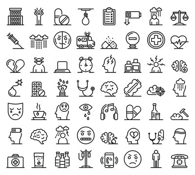 Depression icons set. Outline set of depression vector icons for web design isolated on white background