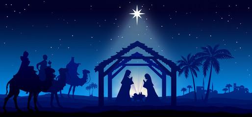 Christmas Nativity Scene blue background