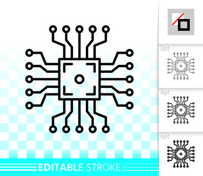 Microchip circuit simple black line vector icon