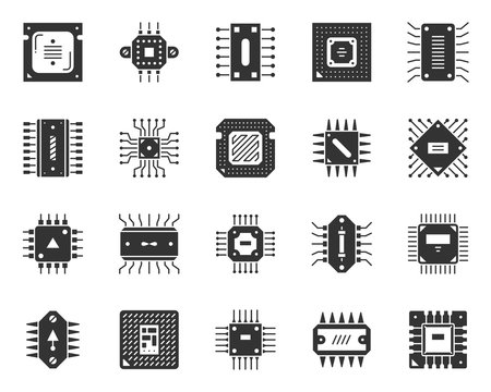 Microchip black silhouette icons cpu vector set