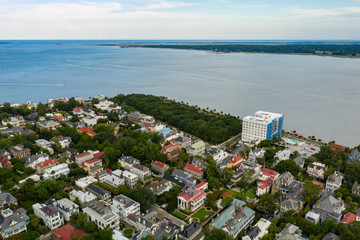 Charleston South Carolina on the water aerial drone shot Wall mural
