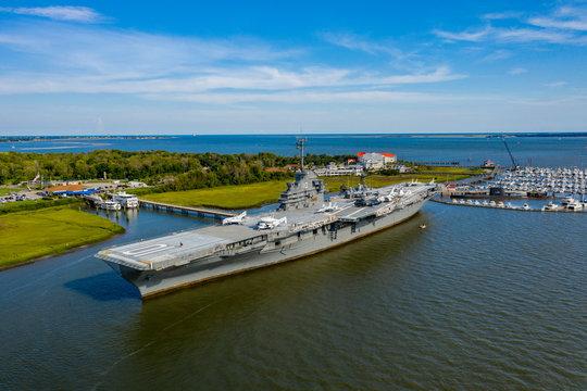 Aerial photo USS Yorktown Mt Pleasant South Carolina USA