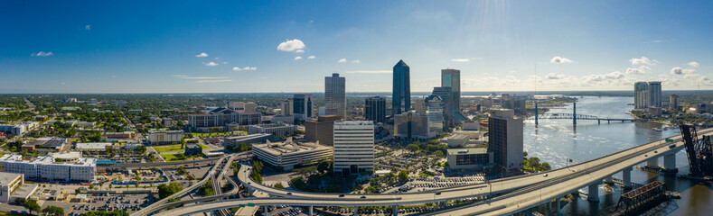 Wall Mural - Aerial panorama Jacksonville in the morning