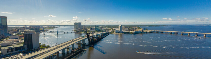 Wall Mural - Aerial panoramic photo Downtown Jacksonville bridges over the St Johns River