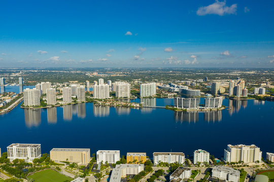 Aerial drone photo Aventura FL USA on a beautiful blue day