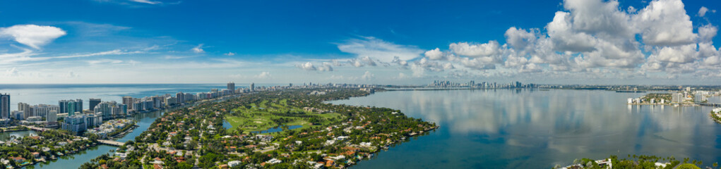 Nice aerial panorama Miami Beach island and bay