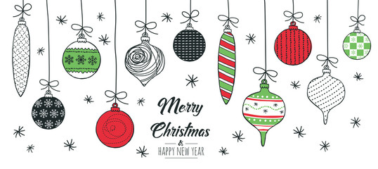 Merry Christmas greeting card red and green with modern baubles. Vector illustration. Wall mural