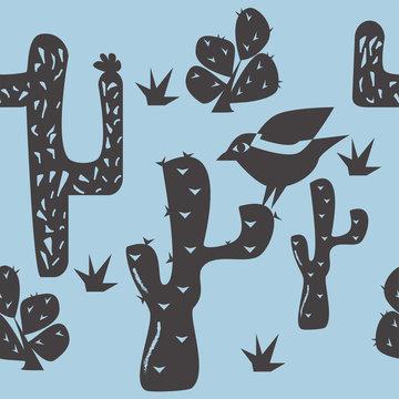 Bird and cactus seamless pattern vector. Traditional Brazilian linocut style illustration.