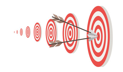 Targets and two arrow in center circle flat vector illustration isolated on white background