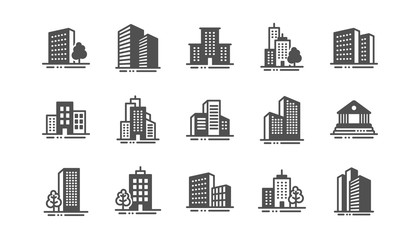 Buildings icons. Bank, Hotel, Courthouse. City, Real estate, Architecture buildings icons. Hospital, town house, museum. Urban architecture, city skyscraper. Classic set. Quality set. Vector Fotomurales