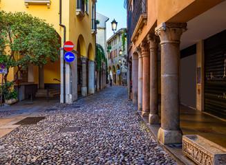 Narrow street in Padua (Padova), Veneto, Italy